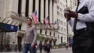 New York Stock Exchange Building Close Up And Wide, USA