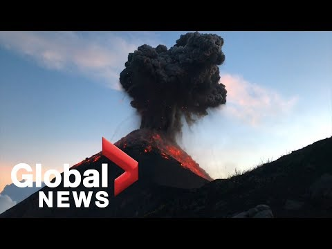 Hikers film stunning eruption of Fuego volcano in Guatemala