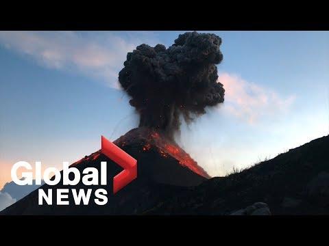 Hikers film stunning eruption of Fuego volcano in Guatemala
