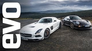 Mercedes SLS AMG Black vs Porsche 997 GT2 RS | evo TRACK BATTLE
