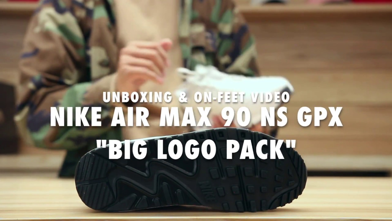 4a2998ad89 Nike Air Max 90 NS GPX Big Logo Pack Unboxing & On feet Video at Exclucity
