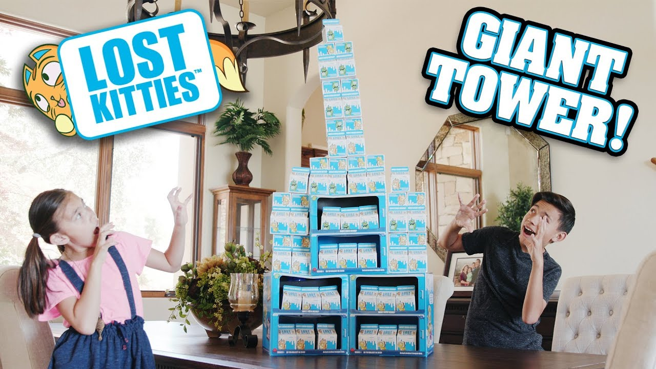 LOST KITTIES CHALLENGE!!! Whoz Hidin Inside the Giant Tower of Kitties? HUGE Unboxing!