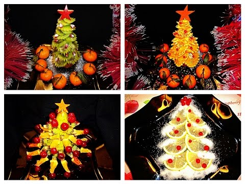4 LIFE HACKS HOW TO MAKE CHRISTMAS TREE & FRUITS CARVING - ORANGE KIWI APPLE LEMON PINEAPPLE ART