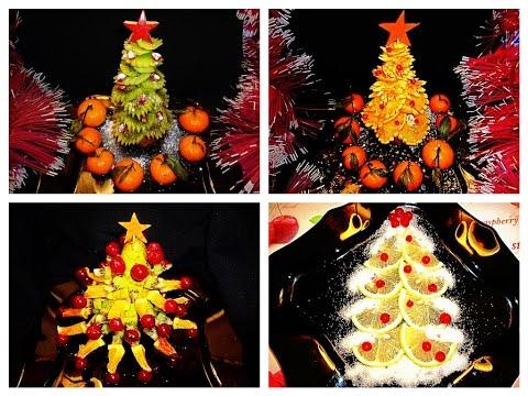 Christmas Tree Fruit.4 Life Hacks How To Make Christmas Tree Fruits Carving Orange Kiwi Apple Lemon Pineapple Art