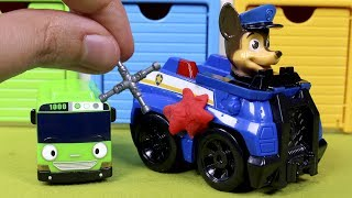 PAW PATROL Toys Episodes ❤ Chase damages his car and our Tayo cars friend help to fix it thumbnail