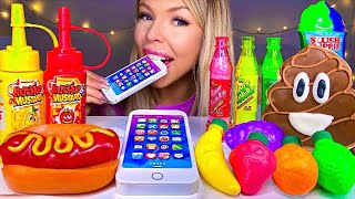ASMR FRUIT CANDY, EDIBLE IPHONE, POOP EMOJI COOKIE, SLUSH PUPPY, HOTDOG GUMMI, SOUR CANDY MUKBANG 먹방