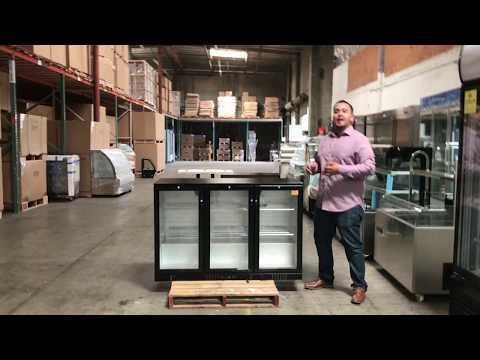 Black Glass Door Commercial Back Bar Beer Bottle Case Refrigerator Cooler
