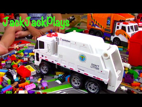 Garbage Trucks for Children: NYC Sanitation Truck Toy UNBOXING- Jack Jack Recycling LEGOs Playing
