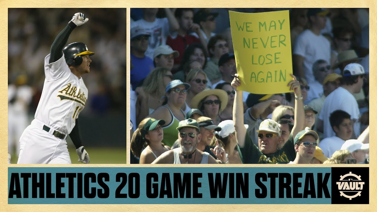 Relive one of the best win streaks in sports history! The Oakland A's 20 game win streak in 2002 - YouTube