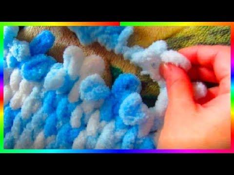 Вязание из плюшевой пряжи Плед своими руками