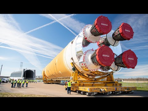 NASA's First SLS Moon Rocket Rolls Out Of Assembly Facility