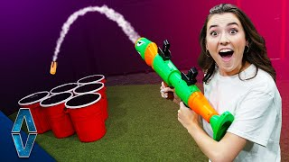 NERF Rocket Cup Pong Challenge!