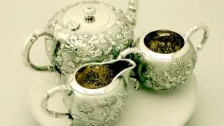 Chinese Export Silver Three Piece Tea Service - Antique Circa 1910 - Ac Silver (w7029)