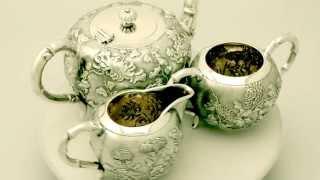 Chinese Export Silver Three Piece Tea Service - Antique Circa 1910 - Ac Silver (w7029)