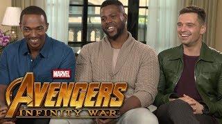 'Avengers: Infinity War': Anthony Mackie, Sebastian Stan and Winston Duke (FULL INTERVIEW)
