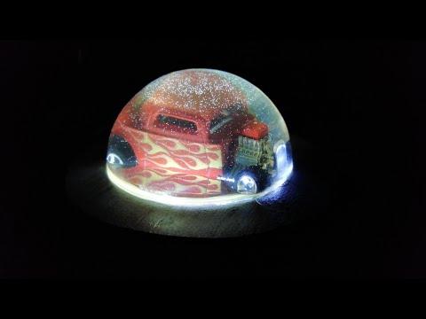 HotWheels led lamp paperweight - HotWheels, epoxy resin and wood-