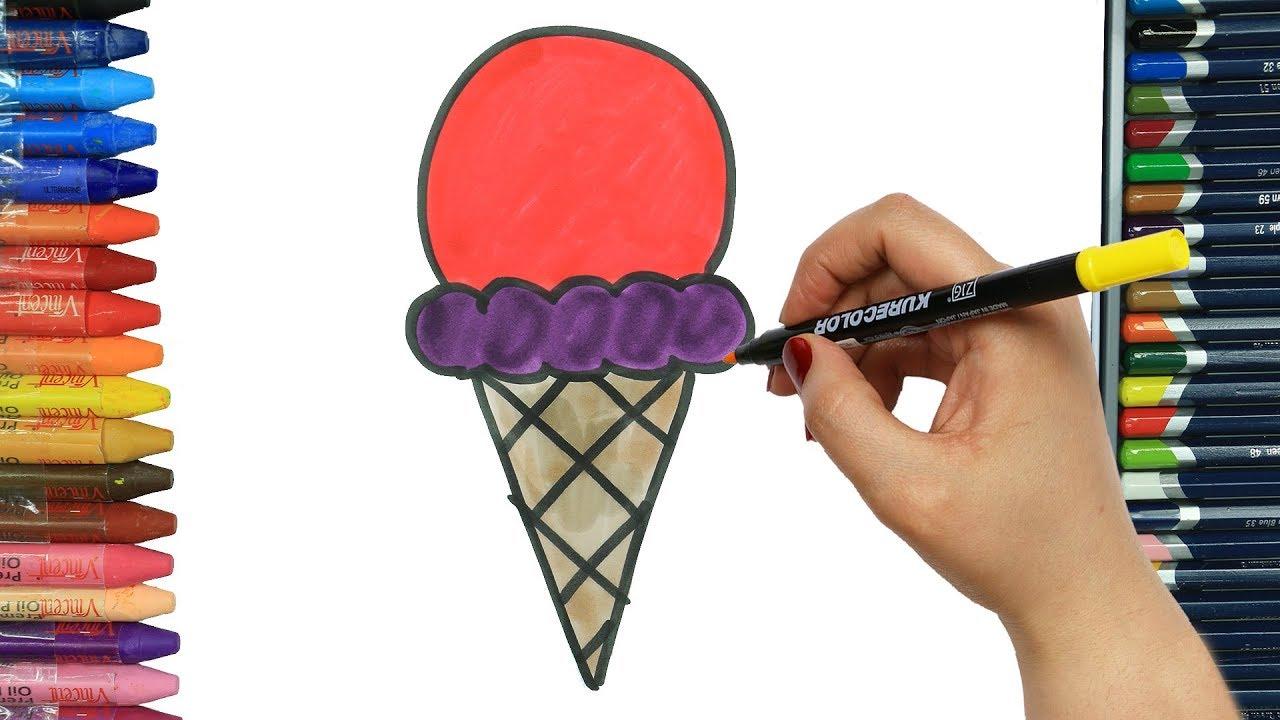 Külahta Dondurma Nasıl çizilir Boya Boya çizelim Boyayalım