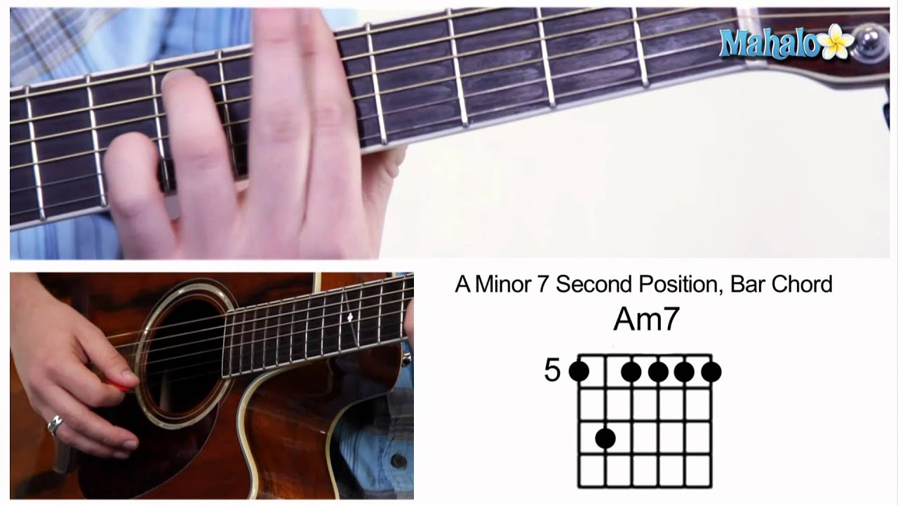 How To Play An A Minor 7 Am7 Bar Chord On Guitar 5th Fret Youtube