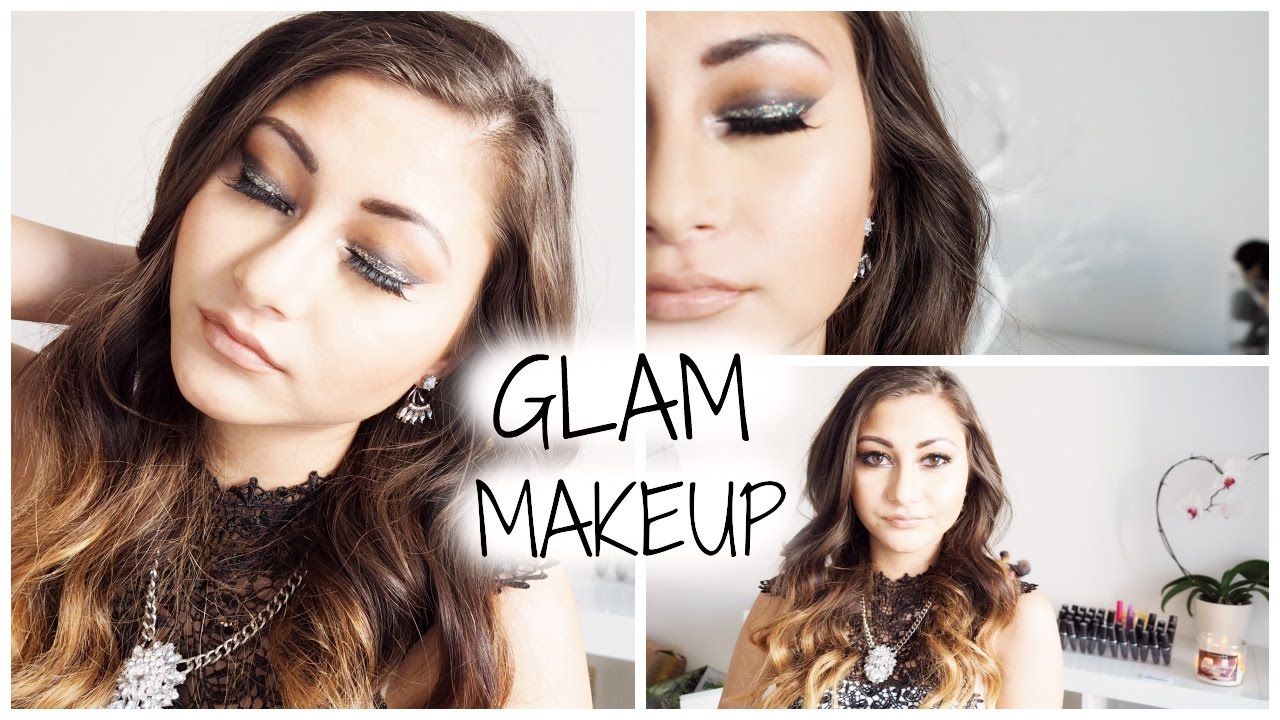Maquillage De Soir E Smokey Eyes With Silver Glitter Youtube