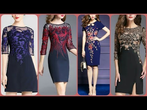 Elegant embroidery plus size v_neck long sleeve mech bodycone dress flowers embroidered trim bodycon