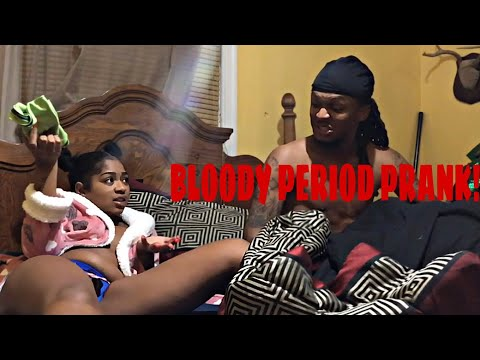 BLOODY PERIOD PRANK ON BF! HE HELPED ME 🤷🏽♀️😂😍 CUTE REACTION | KAAY MONET