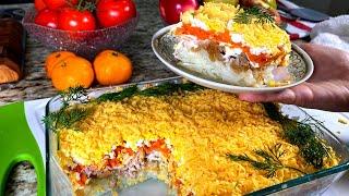 Вкусный салат Мимоза. Классический рецепт, слоеный и не жирный.На 2021 год Салат на праздничный стол