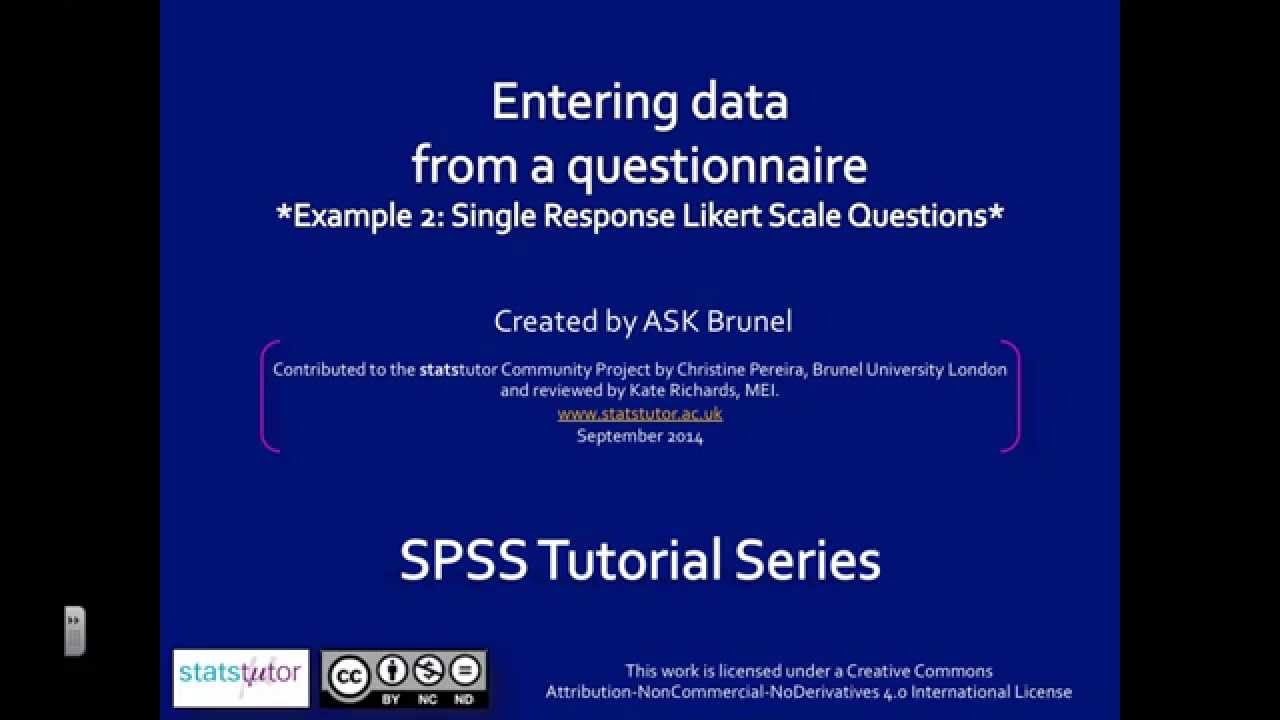 Questionnaire Data In SPSS