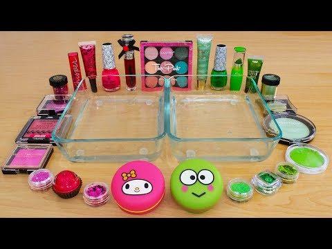 Pink vs Green - Mixing Makeup Eyeshadow Into Slime Special Series 192 Satisfying Slime Video