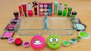 Pink vs Green - Mixing Makeup Eyeshadow Into Slime Special Series 192 Satisfying Slime Video