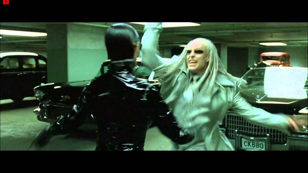the matrix reloaded morpheus vs the twins garage fight scene hd