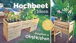 Hochbeet aus Obstkisten selber bauen - Weinkisten Deko - Garten DIY Anleitung
