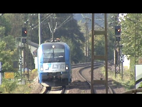 Züge und Schiffe bei Kamp Bornhofen, LTE 183, 2x 185, 2x 101, 612, 460, 3x 428