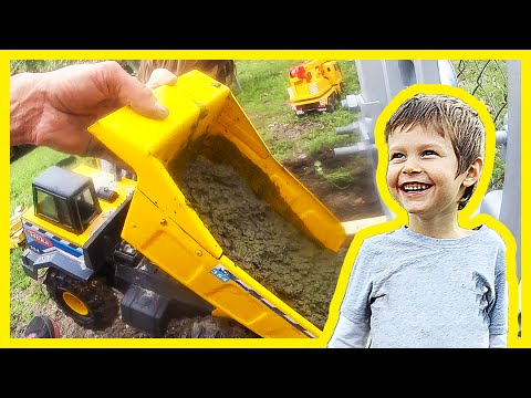 Toy Dump Truck Pours Cement