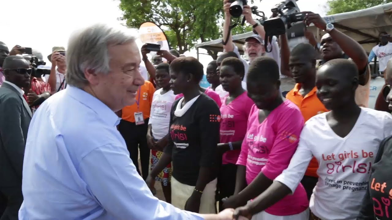 UN chief meets with South Sudanese refugees in Uganda