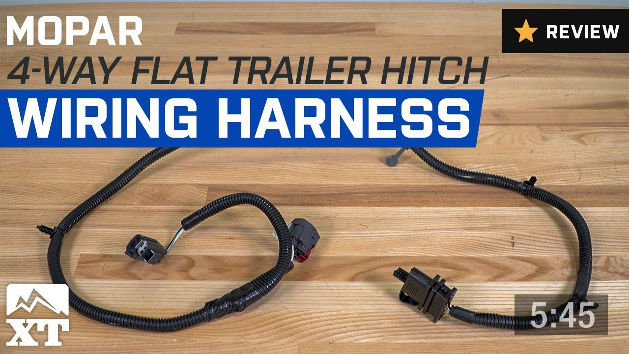 jeep wrangler mopar 4 way flat trailer hitch wiring harness 2007 rh youtube com jeep wrangler trailer wiring harness jeep wrangler trailer wiring harness installation