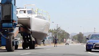 Launching Lightwave 38 Sailing Catamaran,