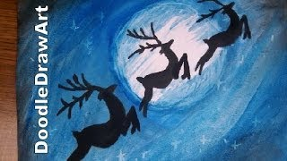 Drawing: How To Draw and Paint Reindeer in the night sky- Moonlight Scene - Step by Step