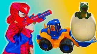 Видео для Детей -Тёма весело ездит на  Тракторе -Динозавр  для детей