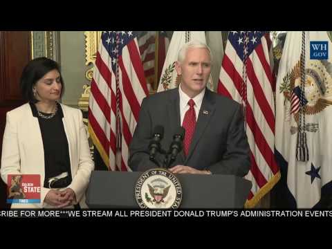 Vice President Pence Participates in the Swearing-in of the Administrator of CMS, Seema Verma