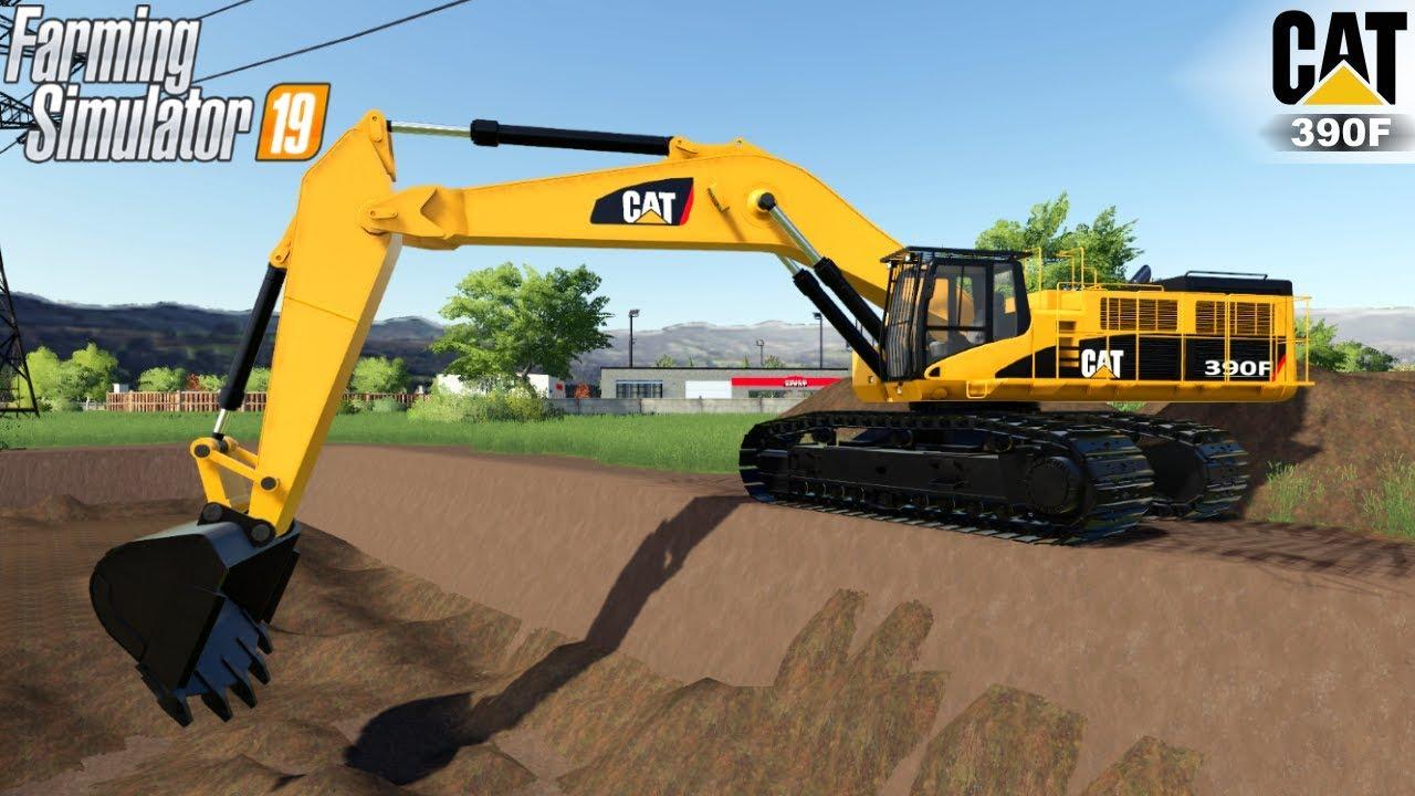 Farming Simulator 19 - CATERPILLAR 390F Excavator Digs A Large Trench