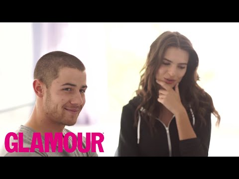 Nick Jonas & Emily Ratajkowski Answer Annoying Questions l The Spotlight  Glamour