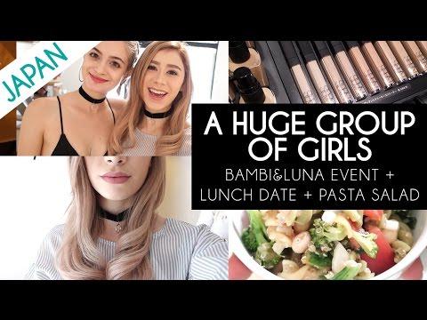 A HUGE GROUP OF GIRLS   Bambi Luna Event & Vegan Food & Pasta Salad Recipe