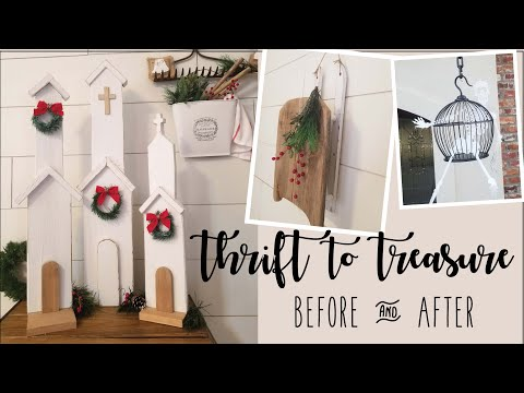 Thrift to Treasure • Bird cages • Wooden sled • Hanging planter • Wooden house and church