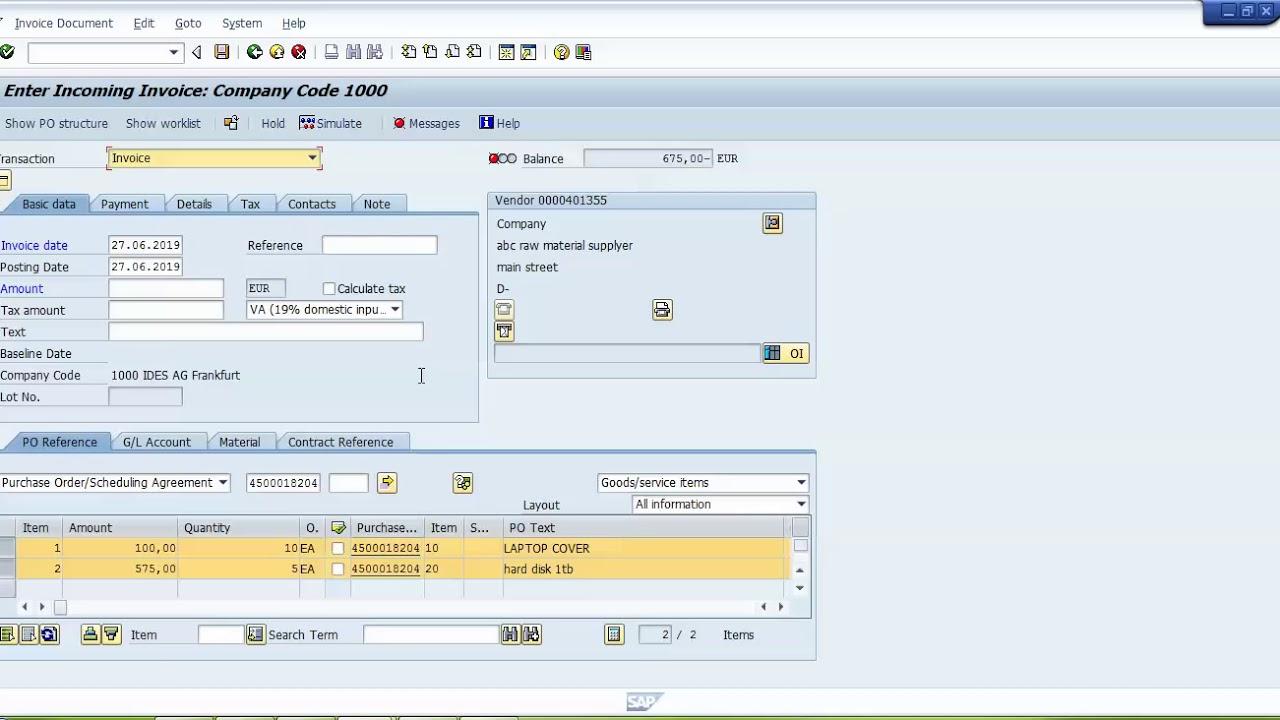Invoice Verification In SAP MM | MIRO T code In SAP
