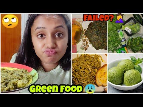 I only ate GREEN food for 24 HOURS Challenge😰 |gopsvlogs