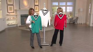 Susan Graver Novelty Stitch Long Sleeve V-Neck Sweater with Pat James-Dementri