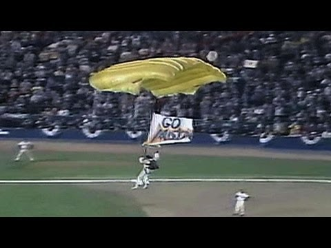 1986 WS Gm6:  parachutes onto infield