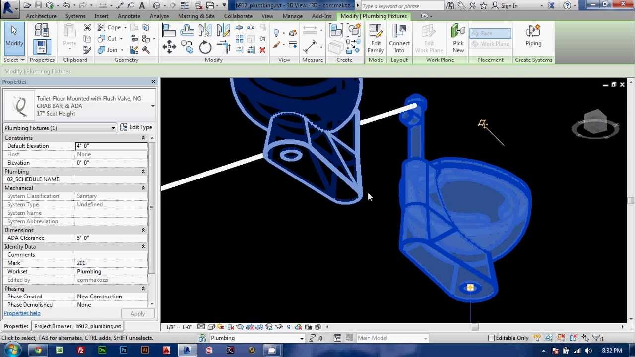 Creating Piping Systems in REVIT Part 1