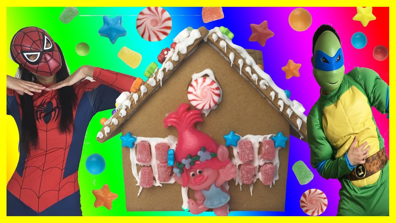 Gingerbread House Trolls Diy Christmas Sugar Cookie House Kit Decorating Candy Icing Gummies Star