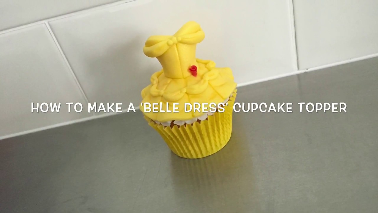 Disney \'Belle\' dress Cupcake Topper tutorial - YouTube